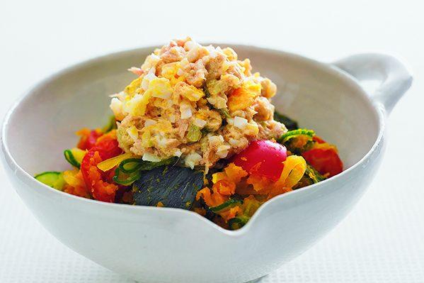 ツナ卵マヨネーズを使った「かぼちゃのツナ卵サラダ」/PART3「おかずの素」ストック⑭