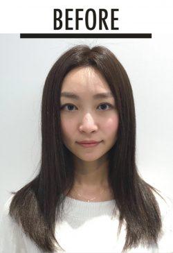 美髪セミロング 横田さんbefore