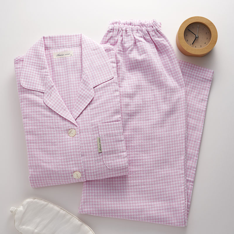 荒川 快眠プロジェクト ギンガムチェック 二重ガーゼパジャマ(ピンク Sサイズ、Mサイズ)