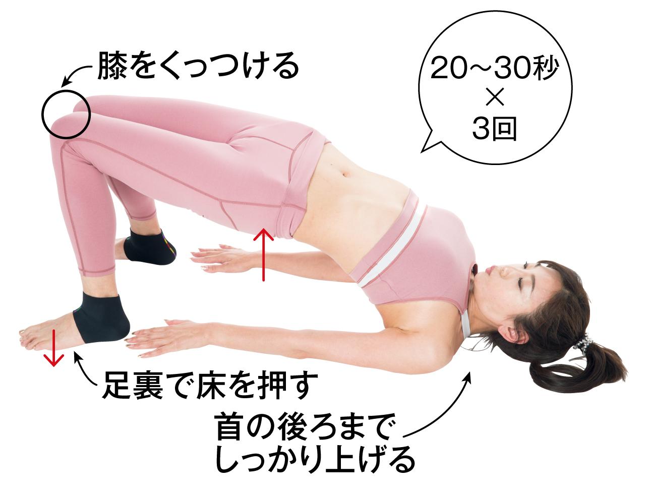 膝をくっつける 足裏で床を押す 首の後ろまでしっかり上げる 20~30秒3回