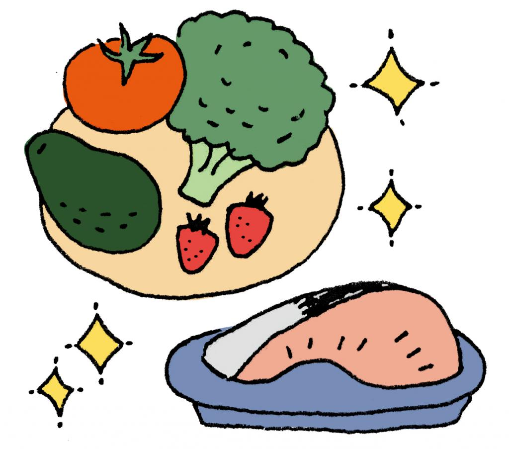 免疫力アップの食材 緑の濃い野菜、紅鮭