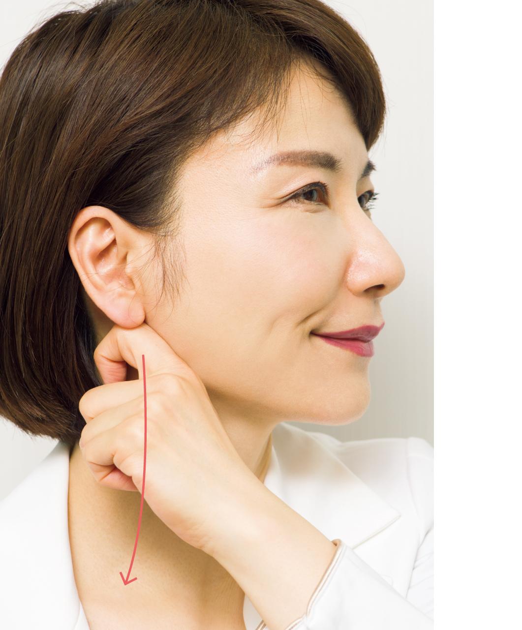 ほぐれた脂肪の老廃物を耳下から鎖骨のくぼみへ流す