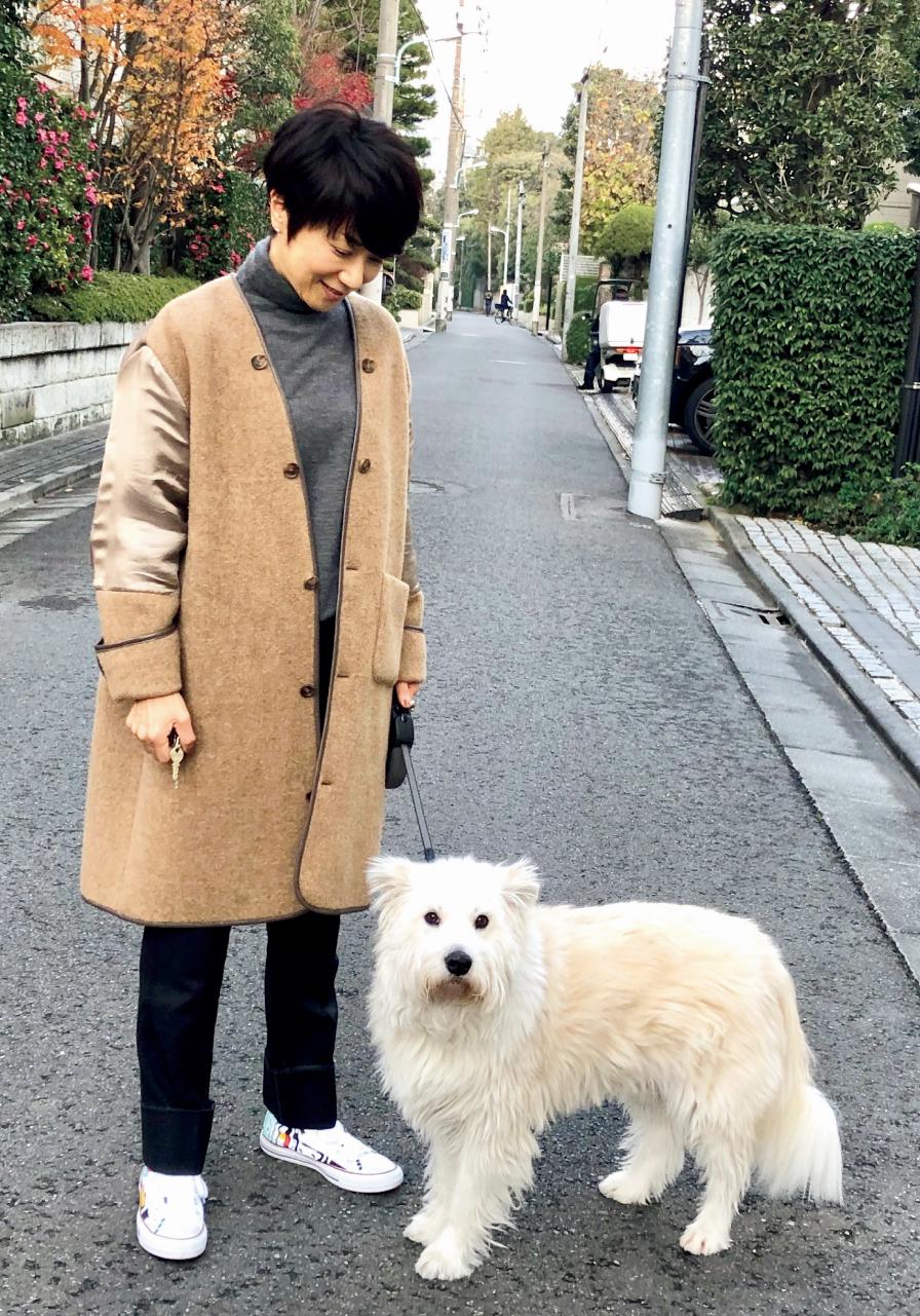 黒田知永子さん キャメルのコートと白のスニーカー 愛犬とろさんとお散歩