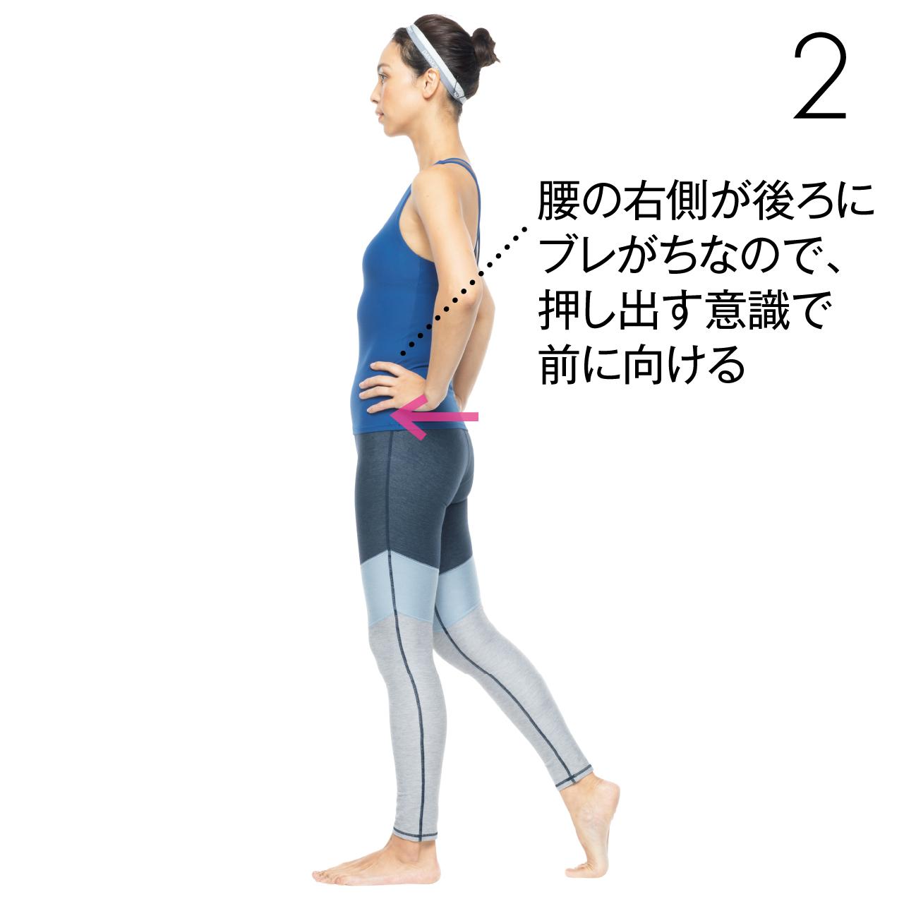 足運びの移動を正す2 腰の右側が後ろにブレがちなので、押し出す意識で前に向ける