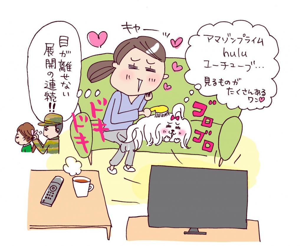 リビングでテレビドラマを観ている主婦。