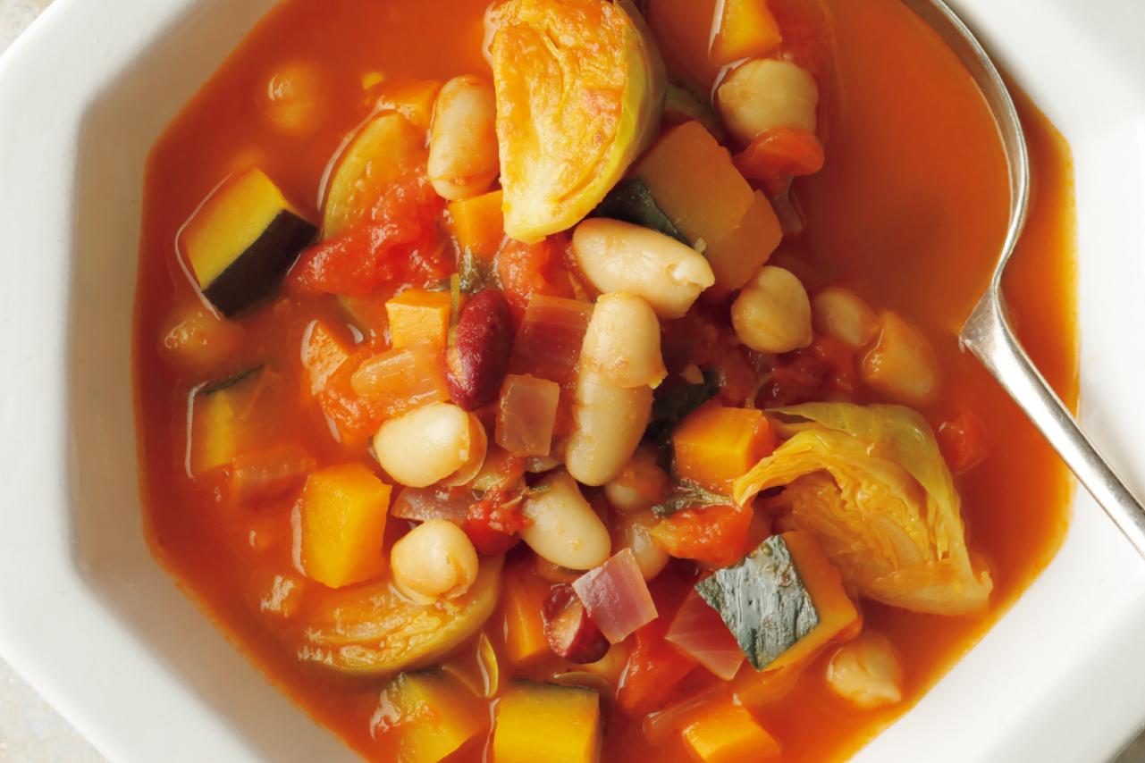 トマトのリコピンがしっかりとれる「野菜とミックスビーンズのスープ」/野菜スープに「+豆」で栄養価とおいしさアップ