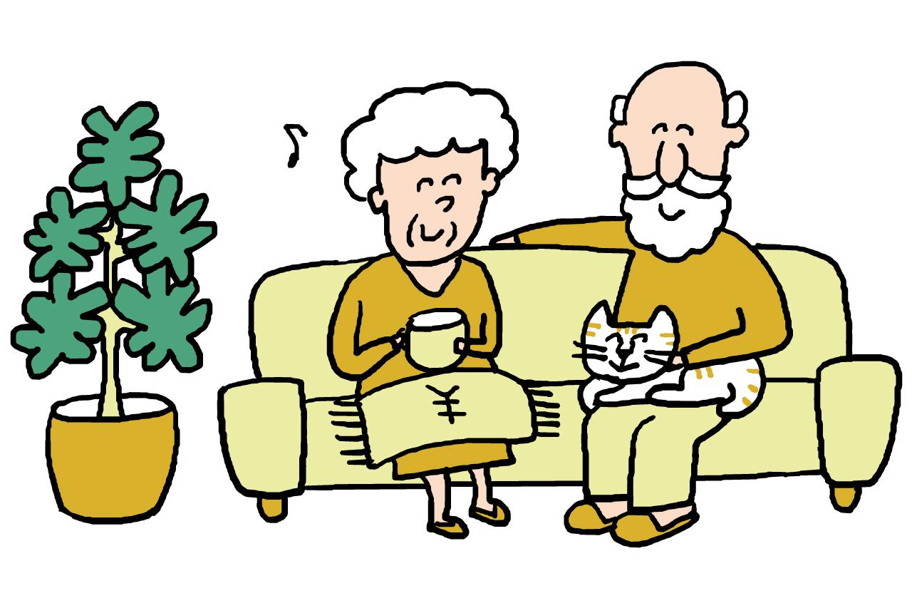 老夫婦がソファーでくつろぐイラスト