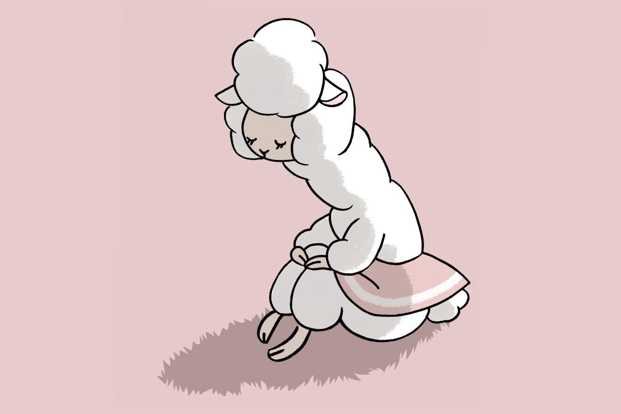 ストレスをかかえるアルパカのイラスト