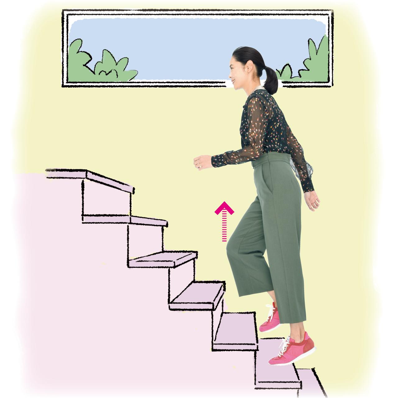 階段でプチもも上げ
