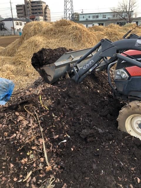畑に堆肥投入