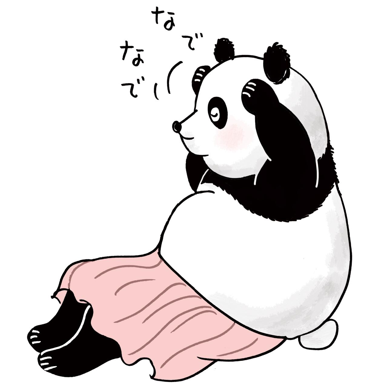 体をなでたり、たたくパンダのイラスト