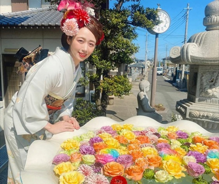 吉田さんおでかけ 川越最明寺「花まとい」イベント小川真理恵さんと花手水