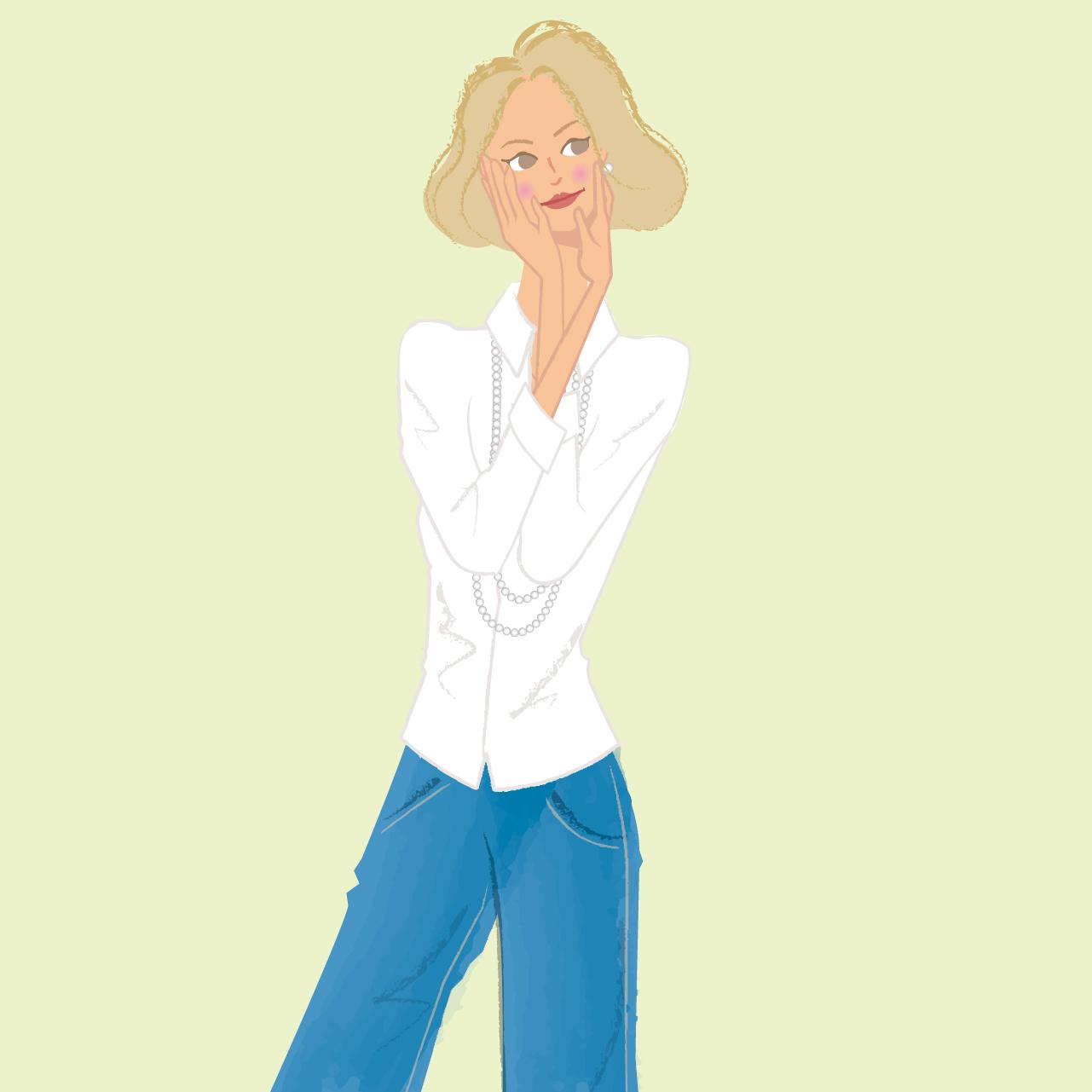 白いシャツを着た女性のイラスト