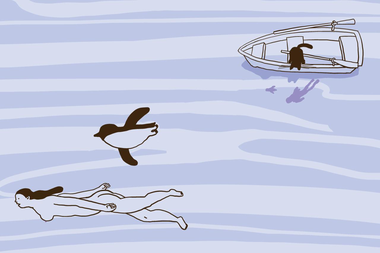 イラスト/堀川理万子 ペンギンと泳ぐ女性とボートの上から水面を覗き込む猫のイラスト
