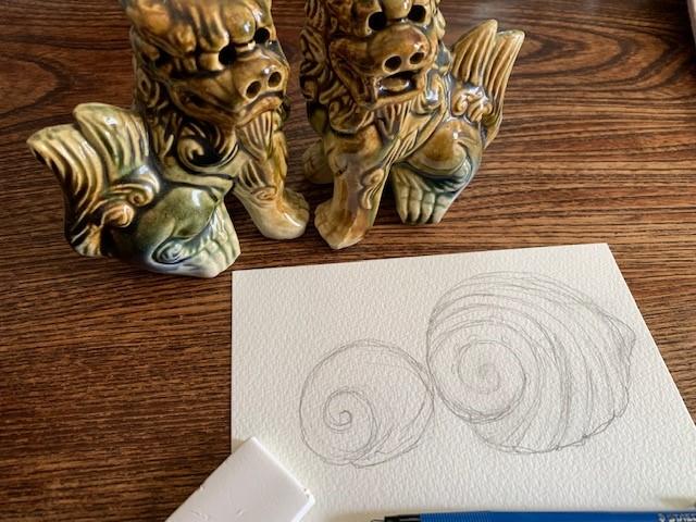 水彩画 書き方 シーサー