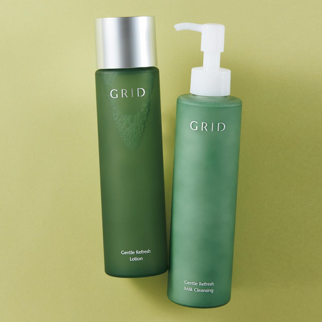 GRID ジェントル リフレッシュ ミルククレンジング、ローション [右から]クレンジング 200㎖ ¥4,950・化粧水 200㎖ ¥5,280/グリッド