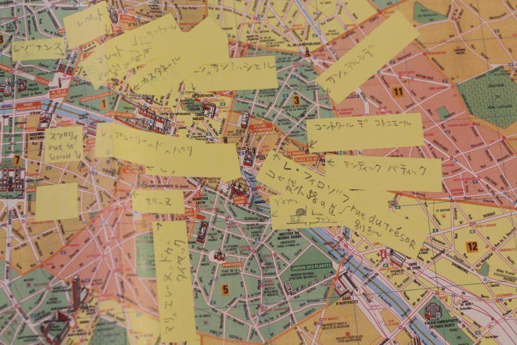 マドレーヌ パリ地図にポストイットを貼った