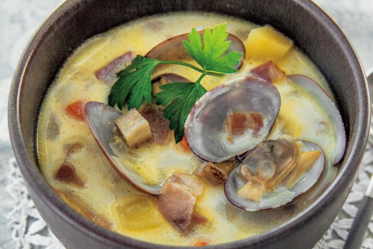 根菜たっぷりクラムチャウダー/食物繊維が効く「朝の具だくさんスープ」③