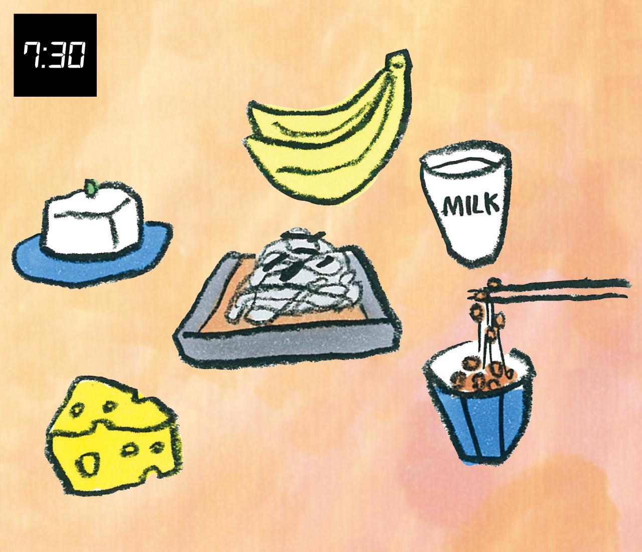7:30 朝食でトリプトファンを含む食品をとり夜の睡眠の質を高める