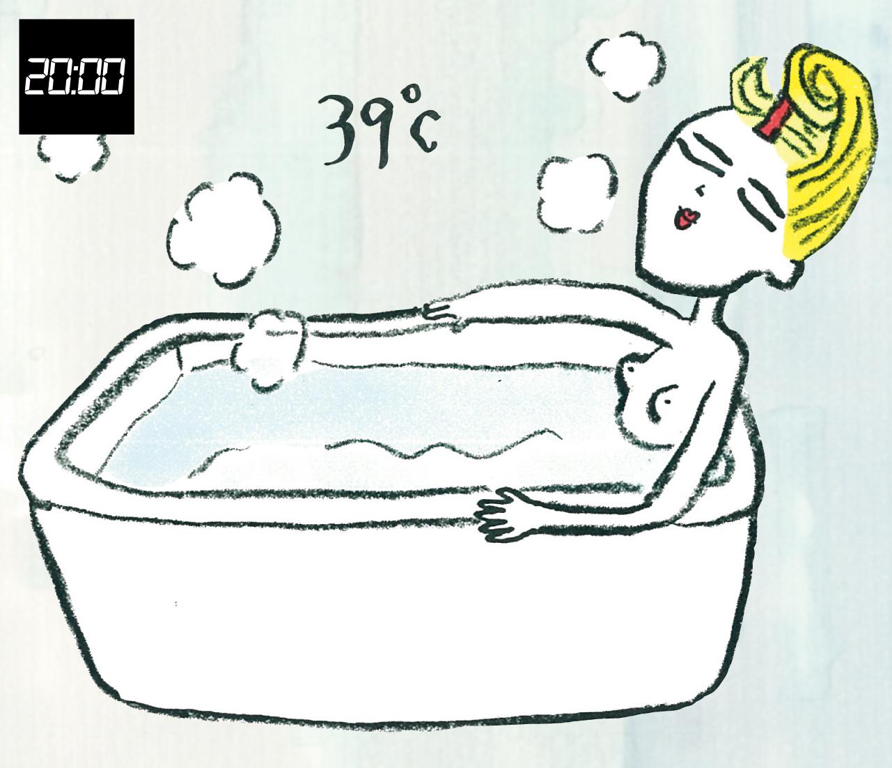 20:00 お風呂は38〜40℃、つかるのは脇の下まで、8分以内程度に