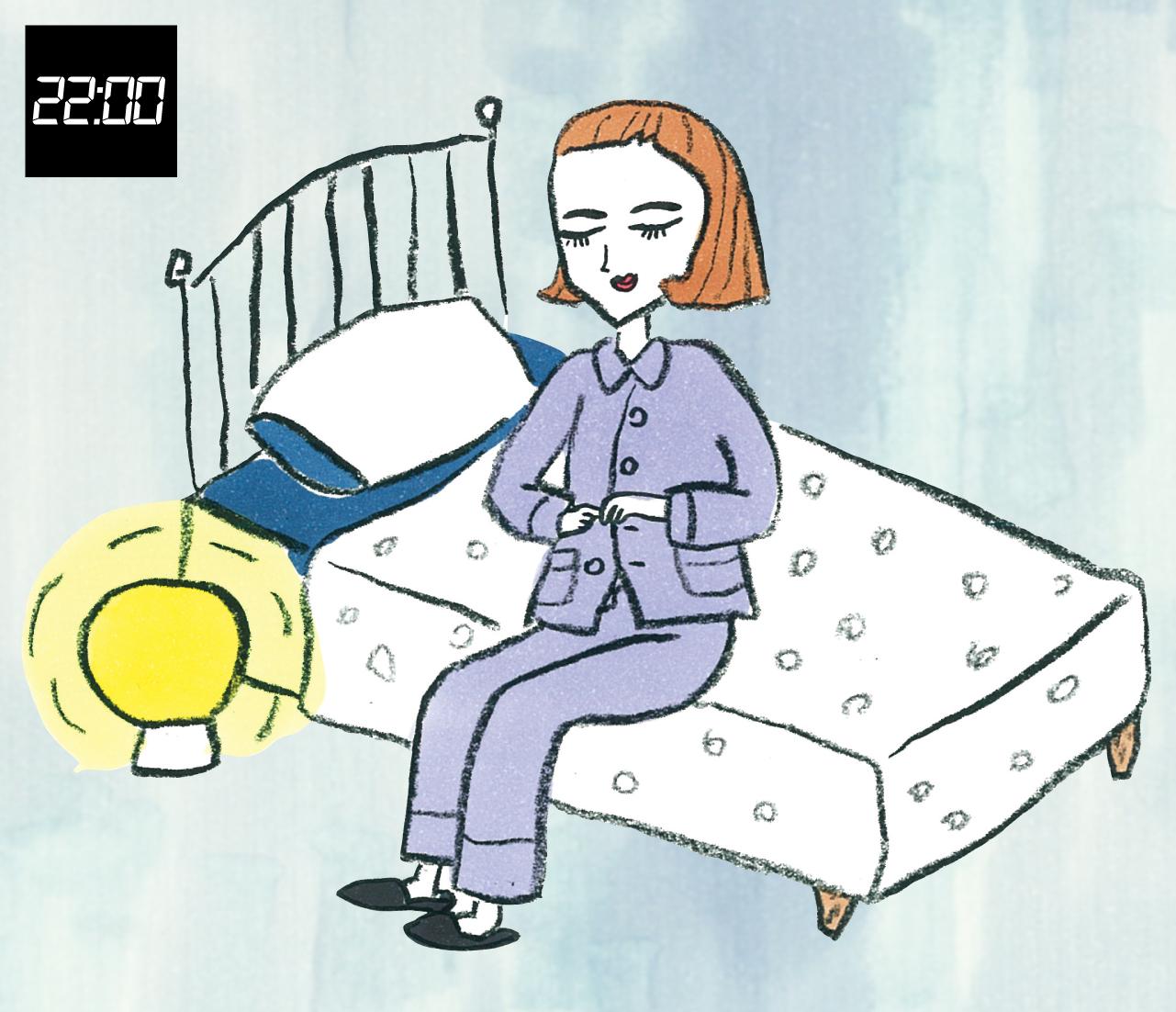 22:00 寝る1時間ほど前の入眠儀式で副交感神経優位にスムーズに移行