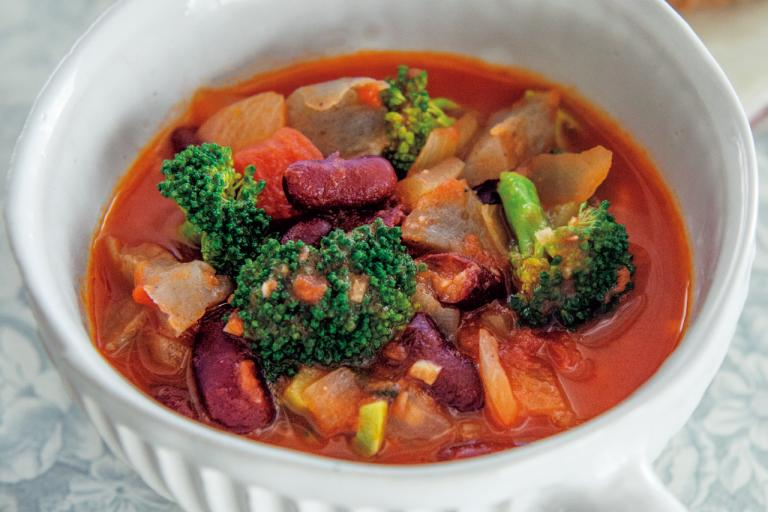 豆とこんにゃく入りミネストローネ風トマトスープ/食物繊維が効く「朝の具だくさんスープ」①