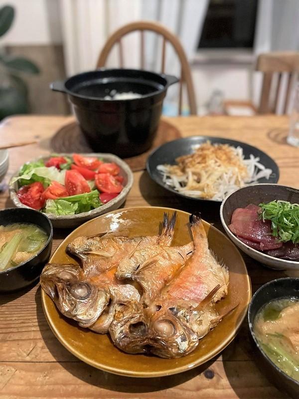 金目鯛の干物のある夕食