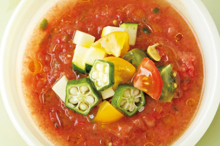 夏野菜のミネラルを余すことなく摂取「カラフル夏野菜のガスパチョ バルサミコ風味」/ミネラル不足解消レシピ④