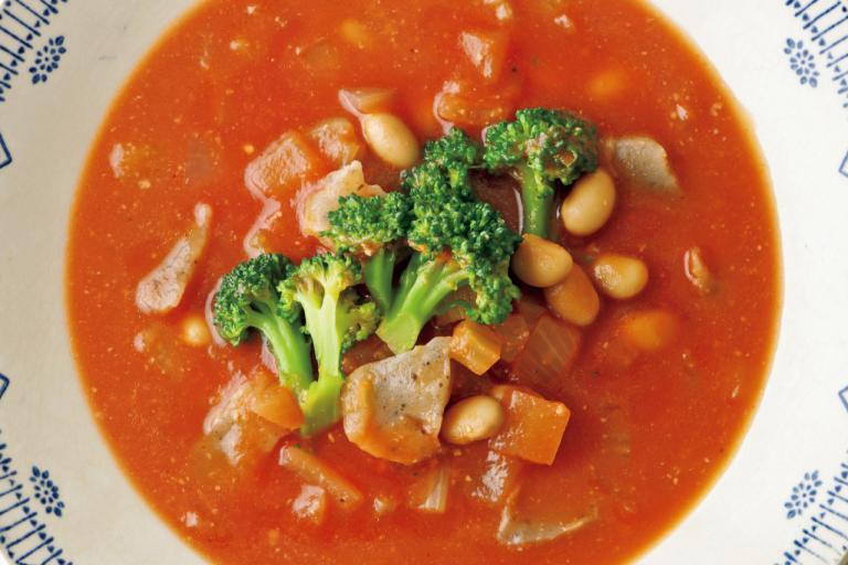 大豆のミネラル分は水煮より蒸し大豆のほうが多い!「蒸し大豆とこんにゃくのミネストローネ」/ミネラル不足解消レシピ②