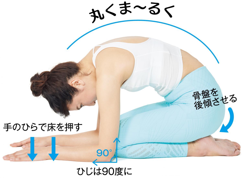ひじの角度は90度にキープしたまま手のひらで床を押す感じで5秒吸って5秒吐く、を繰り返します