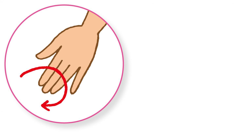 ●人差し指、中指、薬指で押す